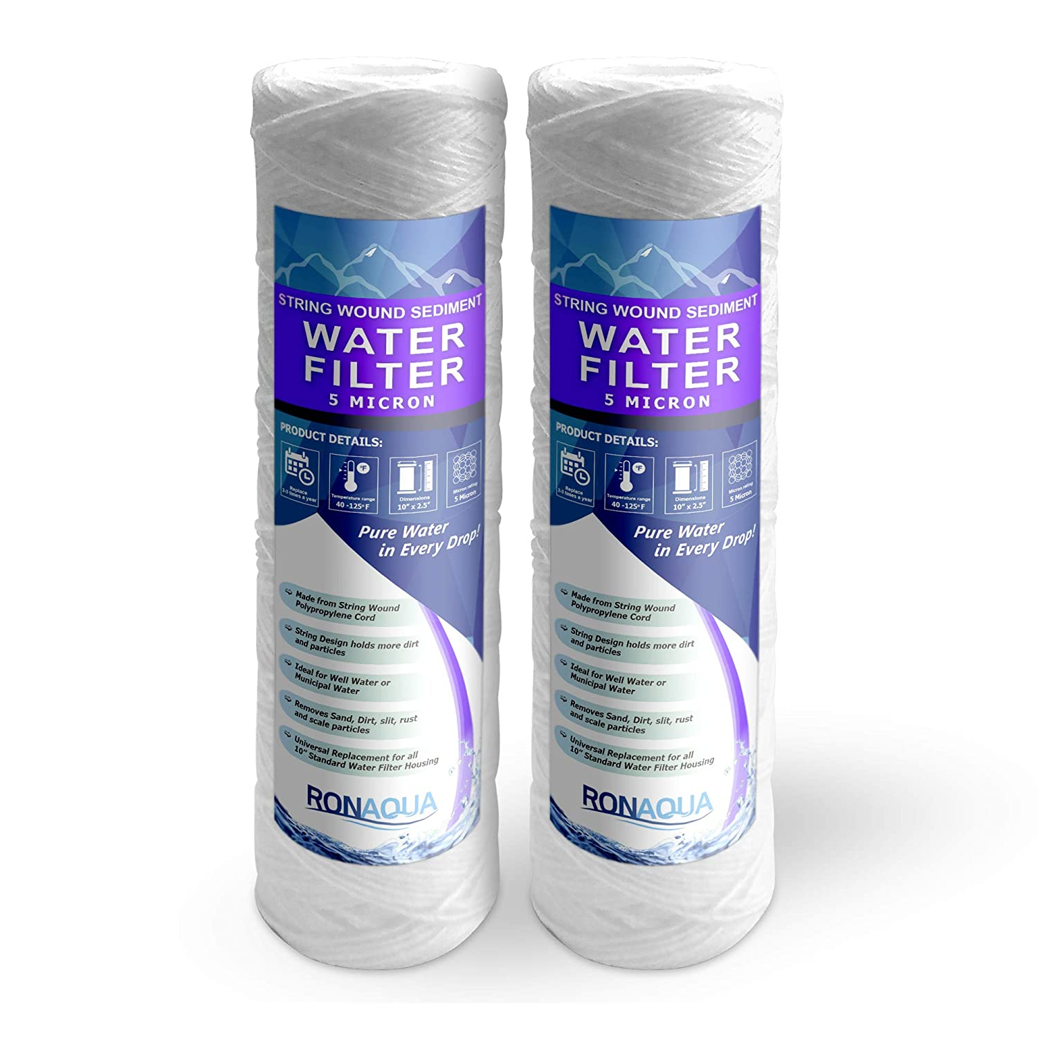 Ronaqua Wound String 5 Micron Sediment Water Filter Cartridge 10 Inc. x 2.5 Inc, Four Layers of Filtration, Removes Sand, Dirt, Silt, Rust, Made from Polypropylene (2 Pack)