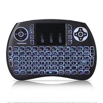 REFURBISHHOUSE Mini Teclado inalambrico QWERTY de 2,4 GHz portatil con Panel tactil y luz de Fondo para PC/Smart TV/Android TV Box: Amazon.es: Electrónica