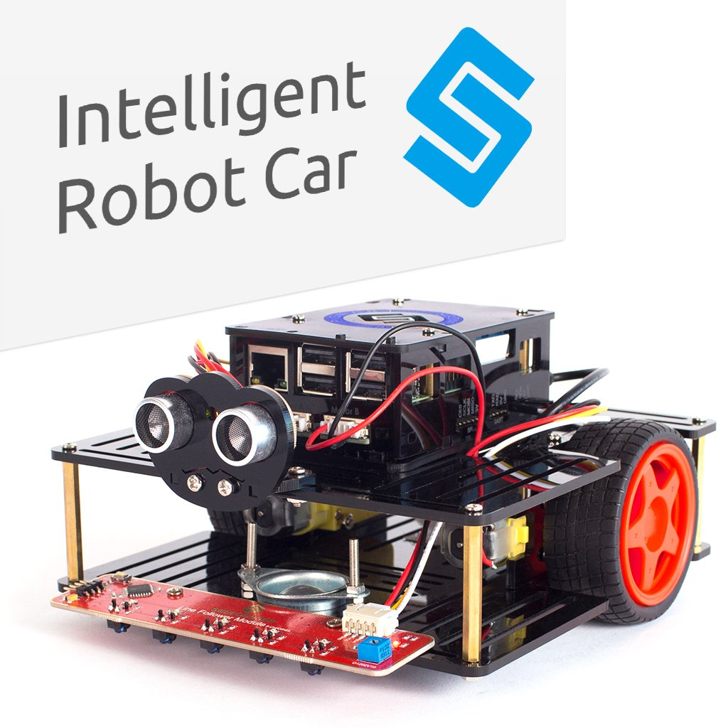 AI Robot Car Smart Robot Kit - SunFounder Pi Smart Car Kit for Raspberry Pi 3/2/B+ Smart Robot Car Speech Recognition Control Line Following Module Ul