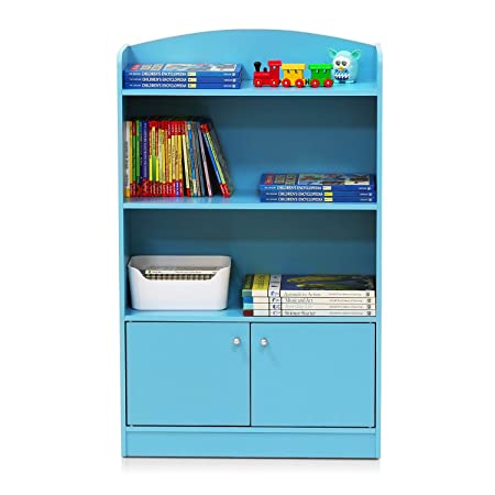 Furinno FR16121LB Stylish Kidkanac Bookshelf With Storage Cabinet Light Blue Best Christmas Gift