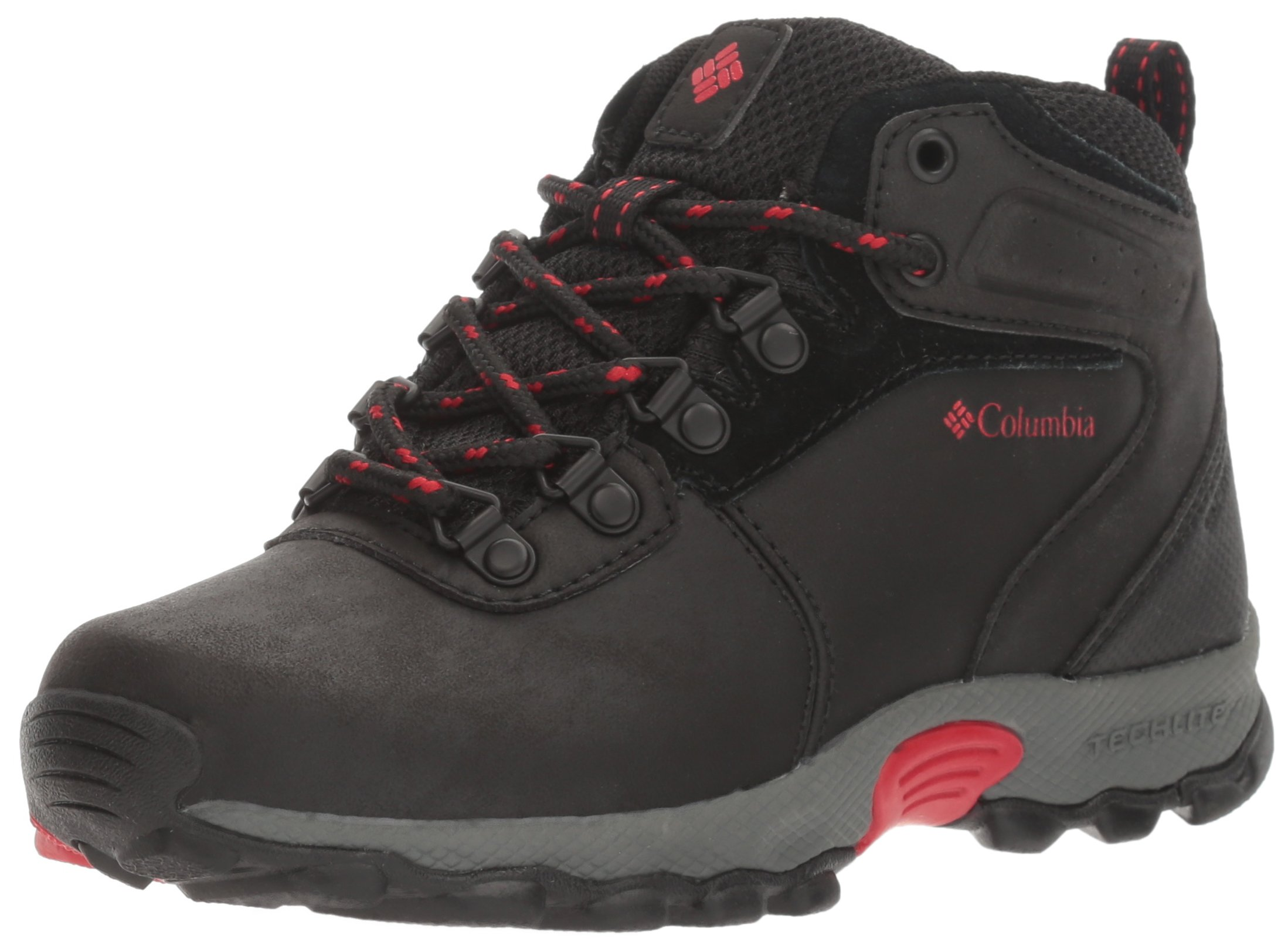 Columbia Unisex Youth Newton Ridge Hiking Shoe Black, Mountain red 5 Regular US Big Kid