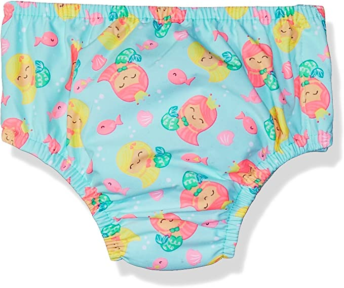 Purple Mermaid Print Small 3-6M Swim Time Baby Girls Reusable Swim Diaper UPF 50 with Side Snaps