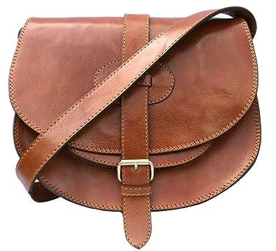 Genuine leather saddle style handbag, shoulder bag, cross-body bag ...