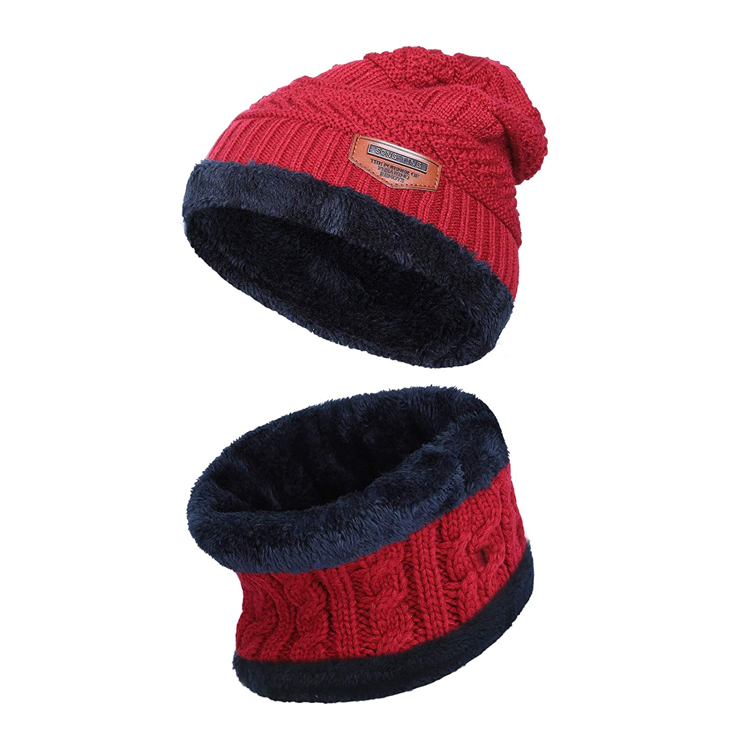 Kajeer Knit Wool Winter Hat Beanie Circle Scarf Set for Boys Girls
