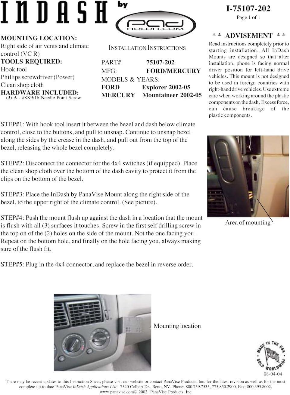 Padholdr Social Series Premium Tablet Dash Kit for 2006-2010 Ford Explorer//Mercury Mountaineer