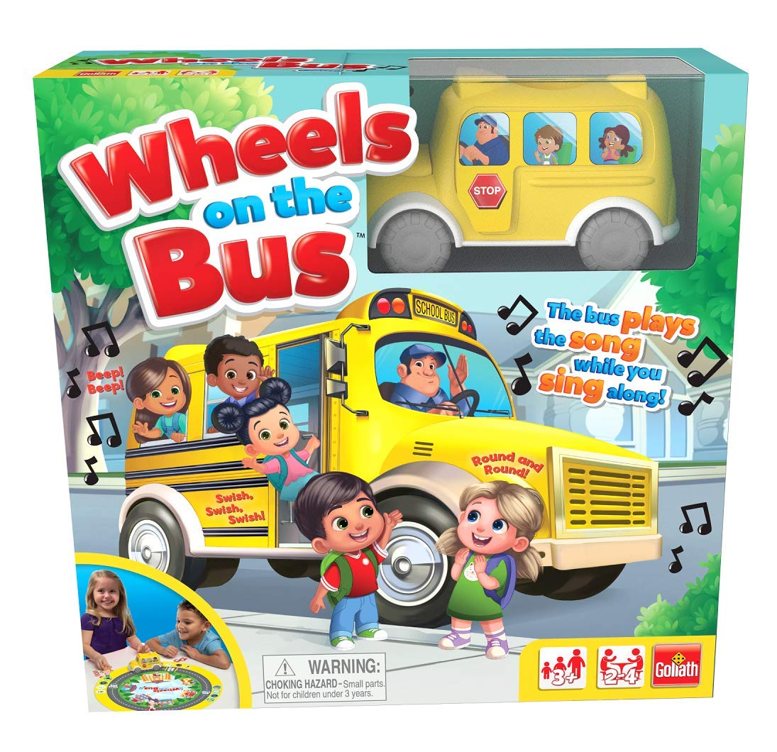 "Pressman 8537 Wheels On The Bus Board Game Plays Song While You Sing Along, 5"" Yellow"