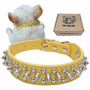 Teemerryca Collare Cane Grande Pelle Borchie Giallo Collare Per Cani