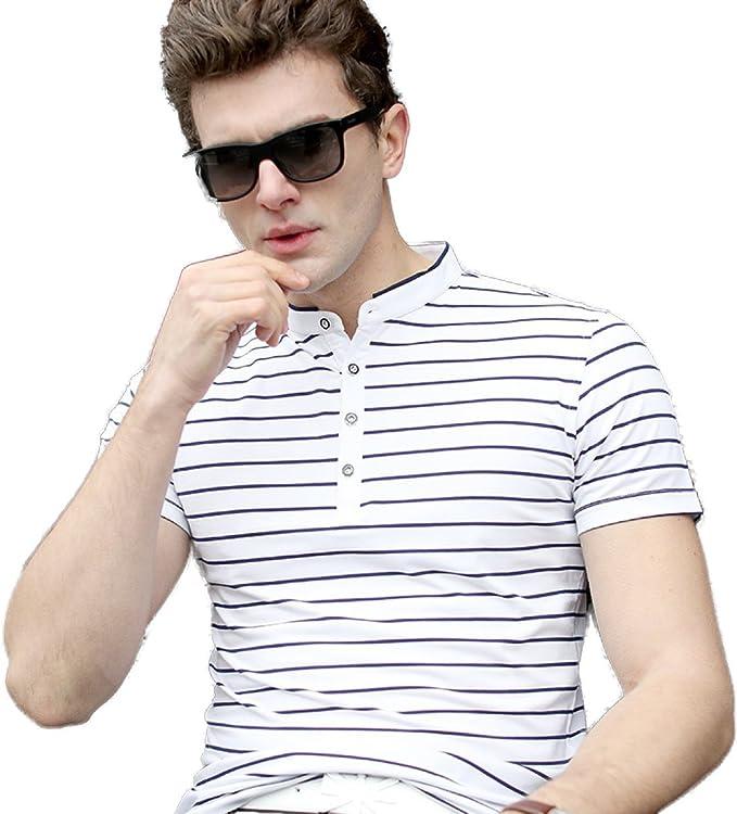 HM. Camiseta De Rayas Hombre De Manga Corta Cuello Pequeño Angosto Rayas Horizontales EN Blanco Y Negro, D-XXXL: Amazon.es: Ropa y accesorios