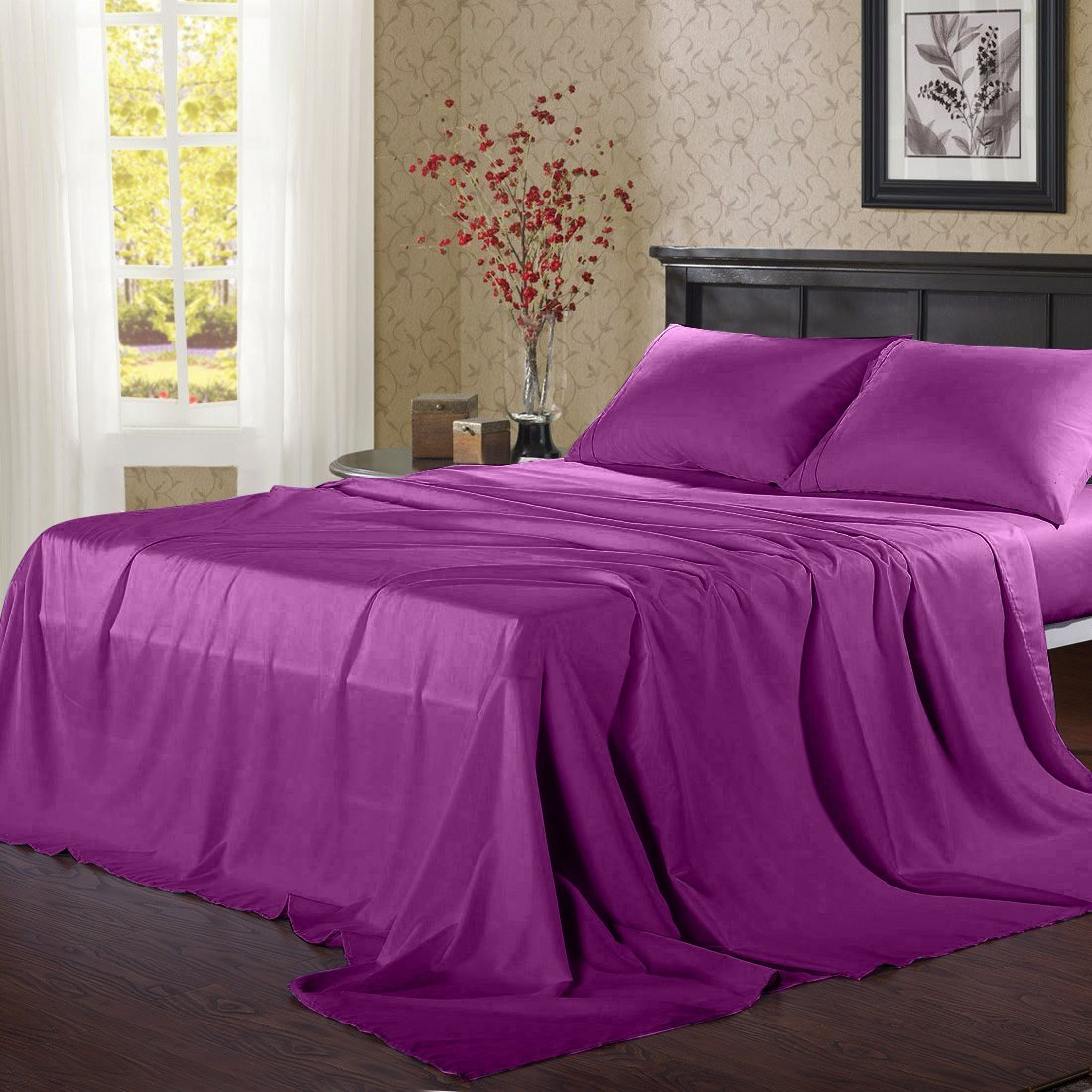 Balichun Microfiber 3 Piece Bed Sheet Set with 18-Inch Deep Pocket, Twin XL Size, Purple