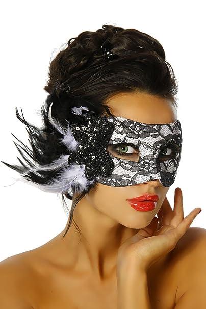 Stilikone Burlesque wopster Disfraz Carnaval Máscara con punta y plumas a12305 - 1 schwarz (Sw 16) talla única: Amazon.es: Ropa y accesorios