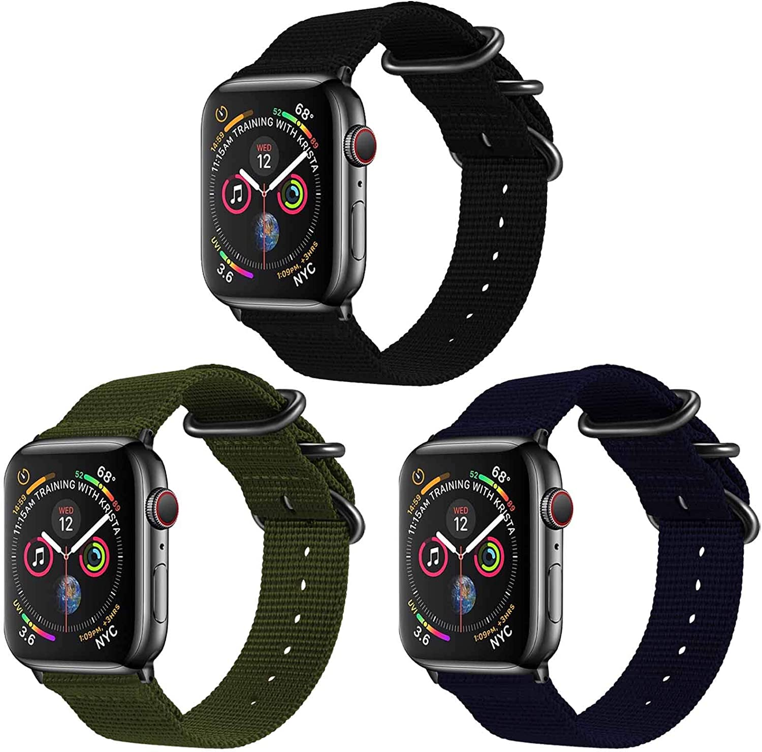 TopPerfekt Nylon Band Compatible with Apple Watch 44mm 42mm, Lightweight Breathable Woven Nylon Sport Wrist Strap, Suitable for iWatch Series 6 5 4 3 2 1 SE (3-Black/Army Green/Navy, 42mm/44mm)