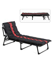 mecor Folding Camping Cot, Adjustable Folding Bed,Portable Folding Chaise lounges for Indoor Office Balcony Outdoor Patio Garden Beach with Pillow and Mattress (red)