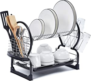 TOOLF 2-Tier Dish Rack,Easy Assemble Large Capacity Dish Drying Rack with Side Mounted Utensil Holder and Cup Holder, Organizing Dishes Kitchen Counter Top or Sink Side