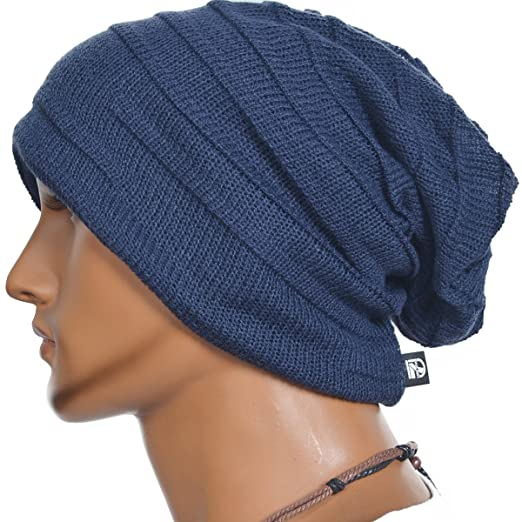 Men's Vintage Baggy Slouchy Blue Knit Beanie Skull Cap Hat Available in 20 Different Colors and Patterns by FORBUSITE