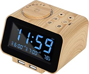 USCCE Digital Alarm Clock Radio - 0-100% Dimmer, Dual Alarm with Weekday/Weekend Mode, 6 Sounds Adjustable Volume, FM Radio w/Sleep Timer, 2 USB Charging Ports, Thermometer, Battery Backup(Wood Grain)