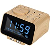 USCCE Digital Alarm Clock Radio - 0-100% Dimmer, Dual Alarm with Weekday/Weekend Mode, 6 Sounds Adjustable Volume, FM…