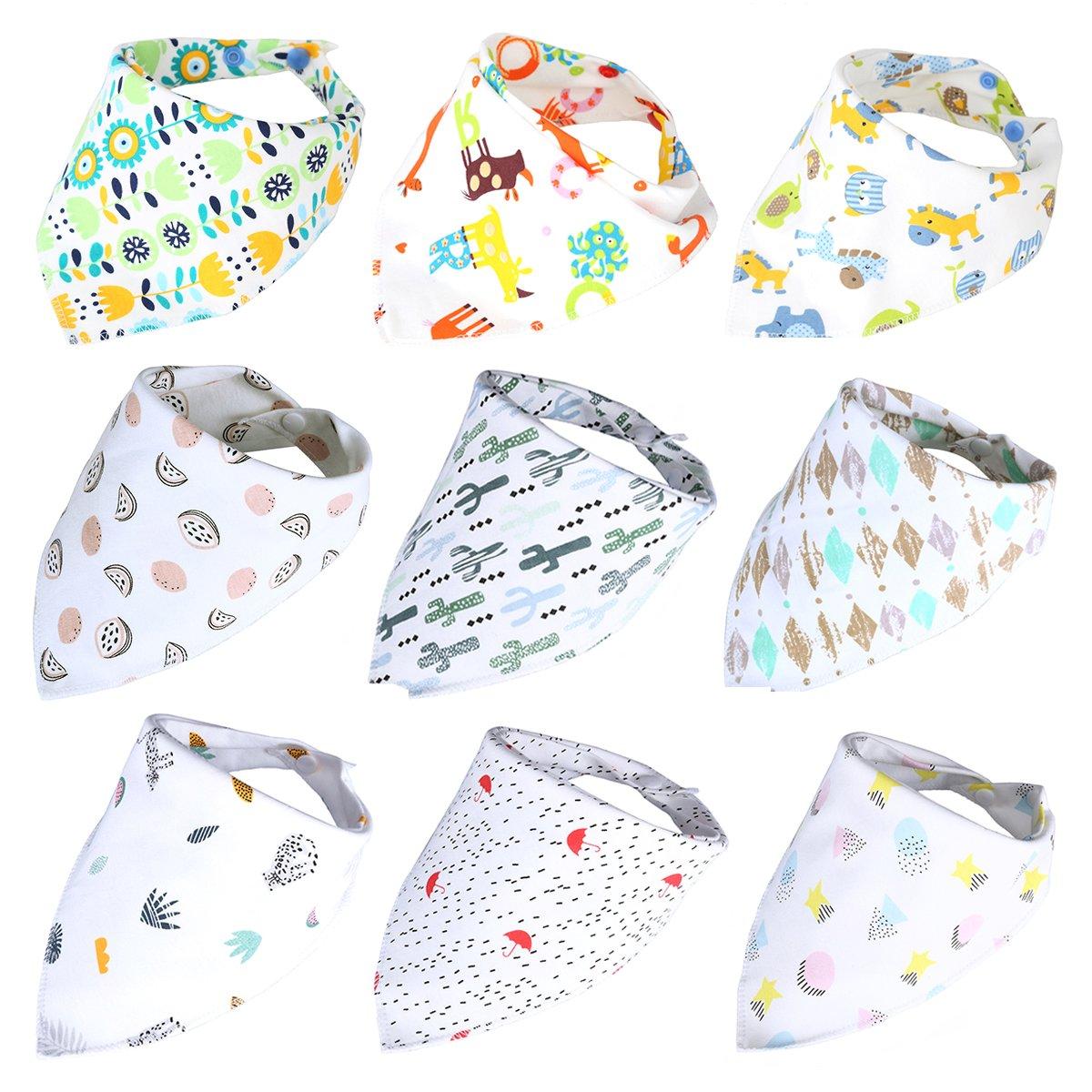 Baby Bandana Drool Bibs 9-Pack Gift Set Cute Floral Organic Cotton Baby Bibs for Boys, Girls Girls (Baby boy)