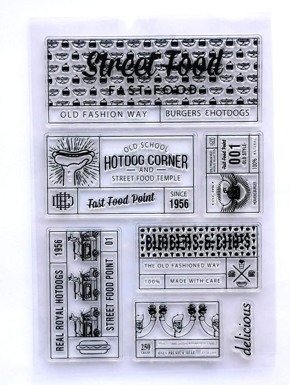 MaGuo Food Label Hotdog Clear Stamps for Paper Craft Card Making Decoration and DIY Scrapbooking