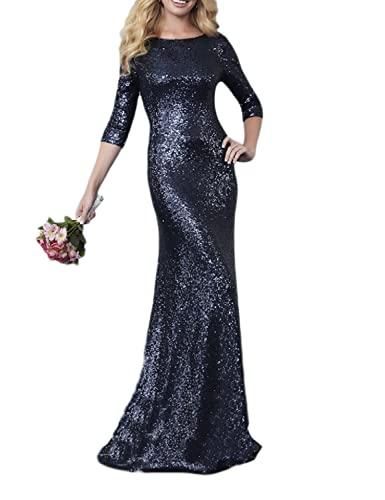 OYISHA Womens 2017 Sequined Maxi Evening 2/3 Sleeve Backless Formal Gowns BD154