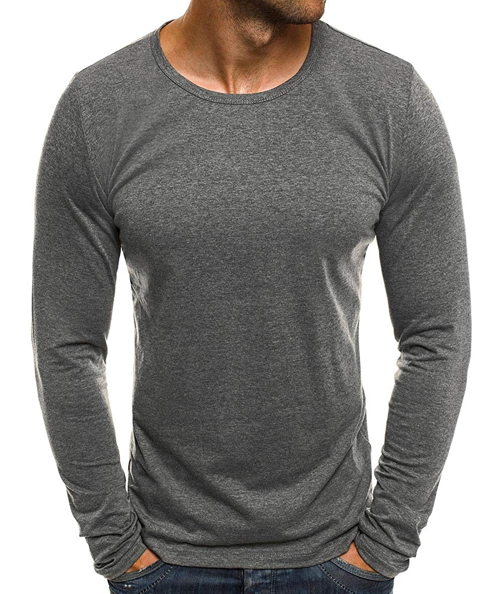 XARAZA Men's Slim Fit Muscle Shirt Long Sleeve Crew Neck Pullover T-Shirt