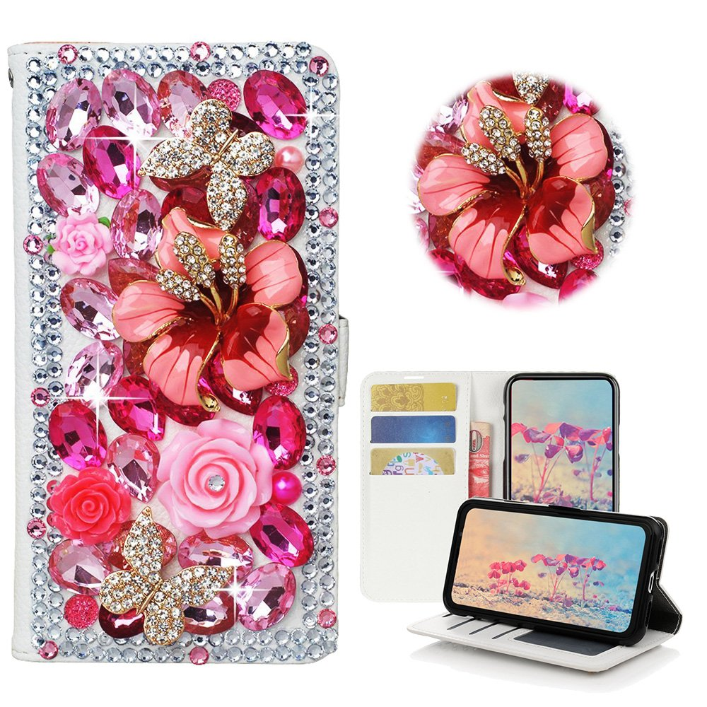 STENES Samsung Galaxy S7 Edge Case - STYLISH - 3D Handmade Crystal Rose Flowers Floral Butterfly Wallet Credit Card Slots Fold Media Stand Leather Cover Case - Hot Pink
