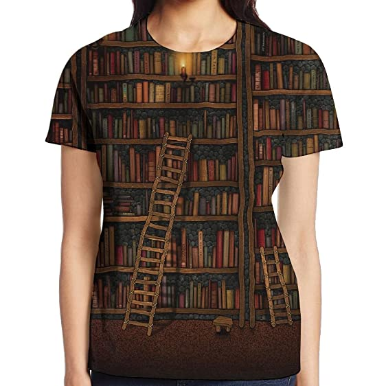 PrimoFore Casual Tees Library Bookshelf Vintage Womens Short Sleeve T Shirt
