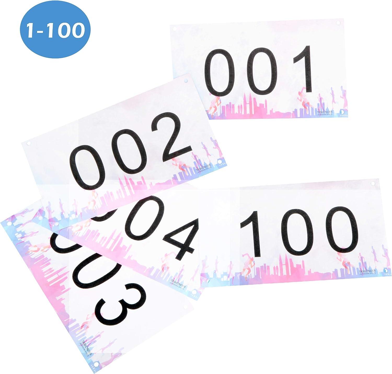 TRIWONDER Dossard Course Dossard Num/éro de Course de Comp/étiteur 4 x7 Ind/échirable Blanc ou Color/é pour Marathon 001-100 ou 001-200