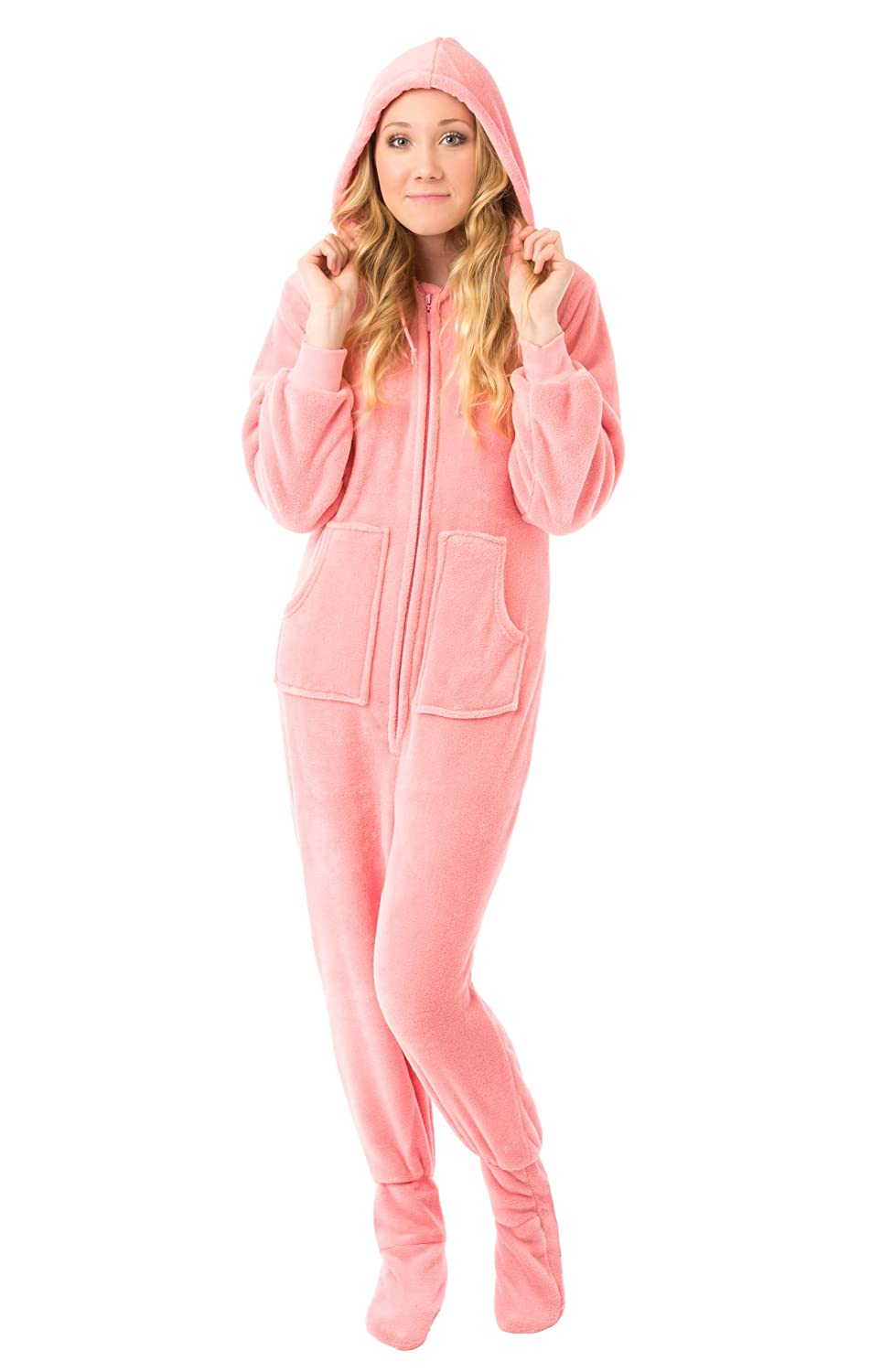 acefd4920 Pink Plush Women s Hoodie Footed Pajama Onesie with Drop Seat at ...