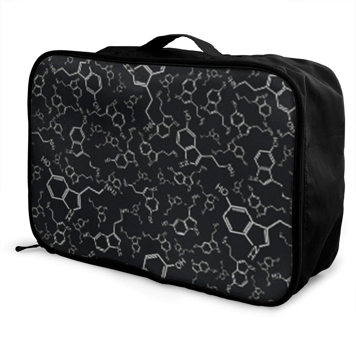 Portable Luggage Duffel Bag Serotonin Black Gray Travel Bags Carry-on in Trolley Handle JTRVW Luggage Bags for Travel