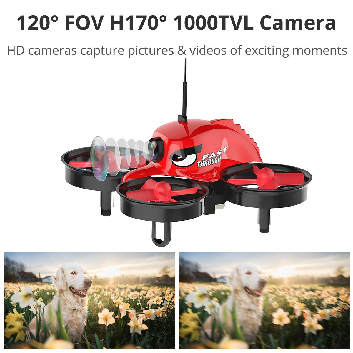 REDPAWZ R011 Micro FPV Racing Drone with 1000TVL Camera,VR Goggles, FOV  120°Wide-Angle Live Video Quadcopter, One Key Return, Headless Mode RTF  Drone