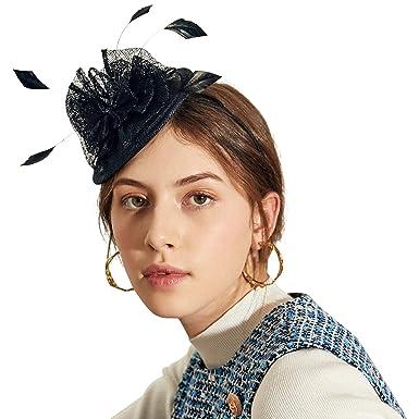3c800ed80c0 Deevoov Women Fascinators Hat Headband Small Ladies Hairstyle Hairband  Flower Feathers Royal Ascot Race Sinamay Black  Amazon.co.uk  Clothing