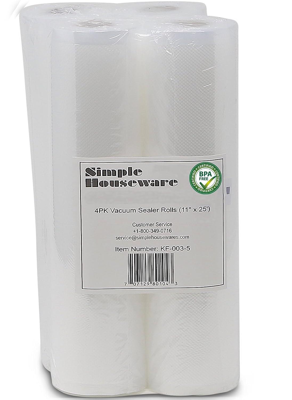 "4 Pack - SimpleHouseware 11"" x 25' Commercial Vacuum Sealer Rolls Food Storage Saver Compatible to Foodsaver Sous Vide (total 100 feet)"
