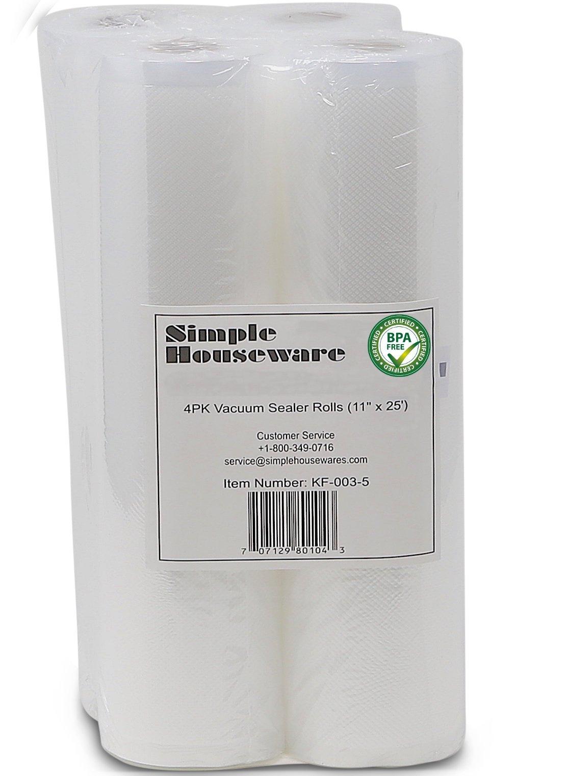 4 Pack - SimpleHouseware 11'' x 25' Commercial Vacuum Sealer Rolls Food Storage Saver Compatible to Foodsaver Sous Vide (total 100 feet)