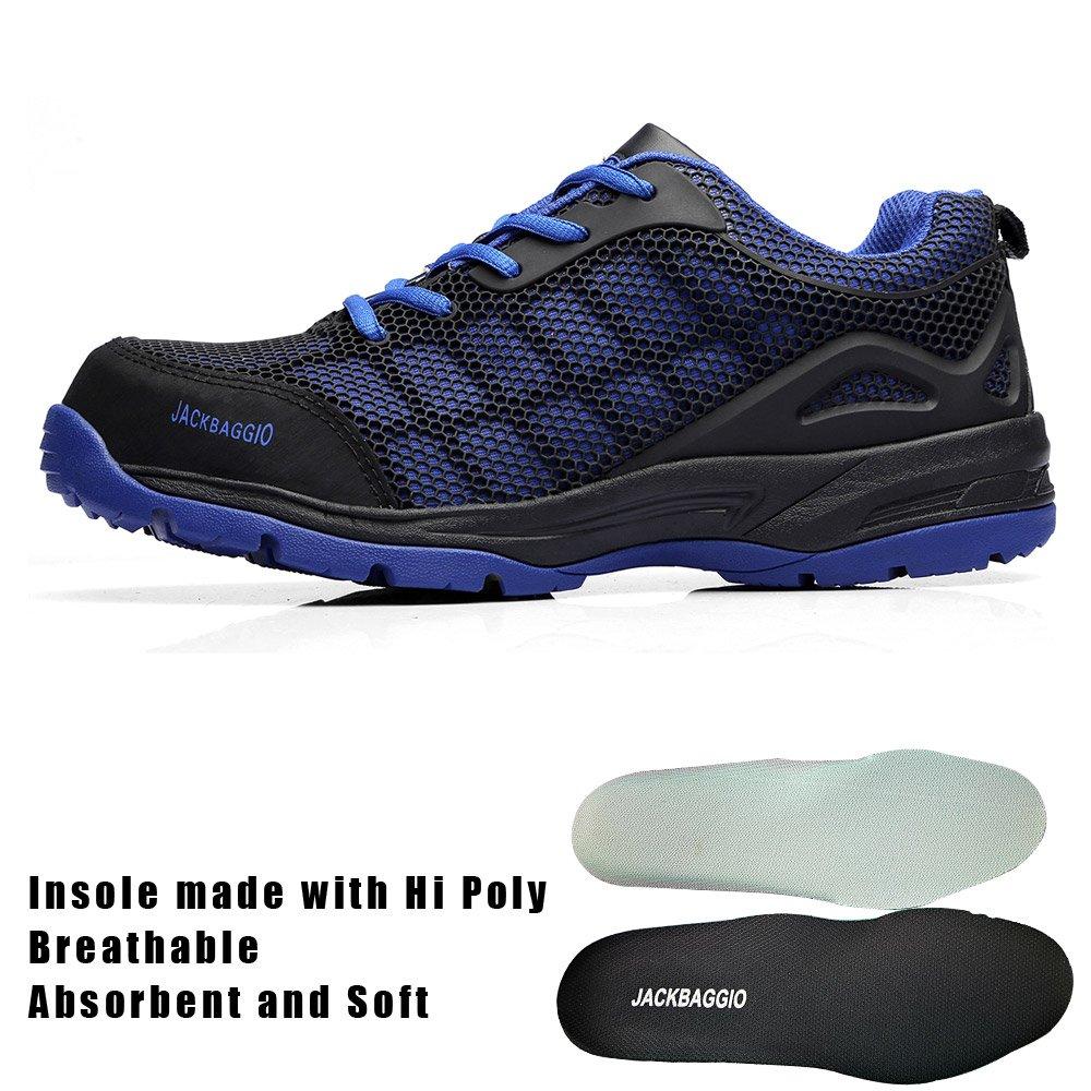 JACKBAGGIO Men's Athletic Steel Toe Breathable Mesh Lightweight Work Shoes (10.5, Blue) by JACKBAGGIO (Image #3)