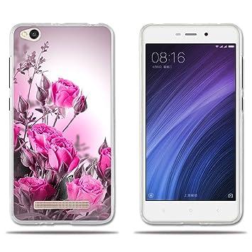 FUBAODA Funda Xiaomi Redmi 4a Carcasa Ultra Fino de Cristal Claro,Dibujo Rosa Fantasía Rojo Claro, Duradera, Suave al Tacto,[ [Protección Goma ...