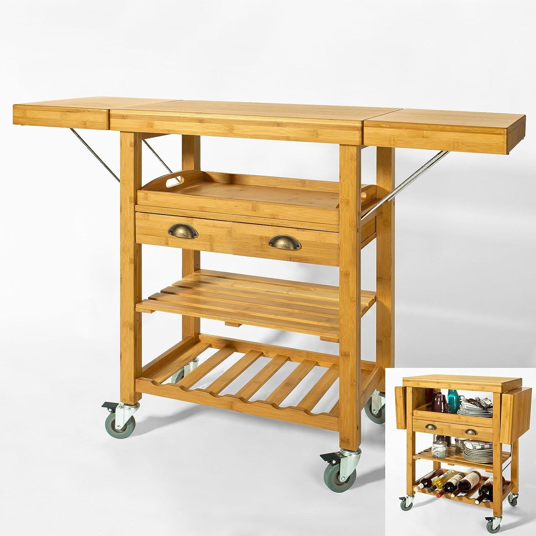 SoBuy Servierwagen aus hochwertigem Bambus,Küchenwagen,Küchenregal ...