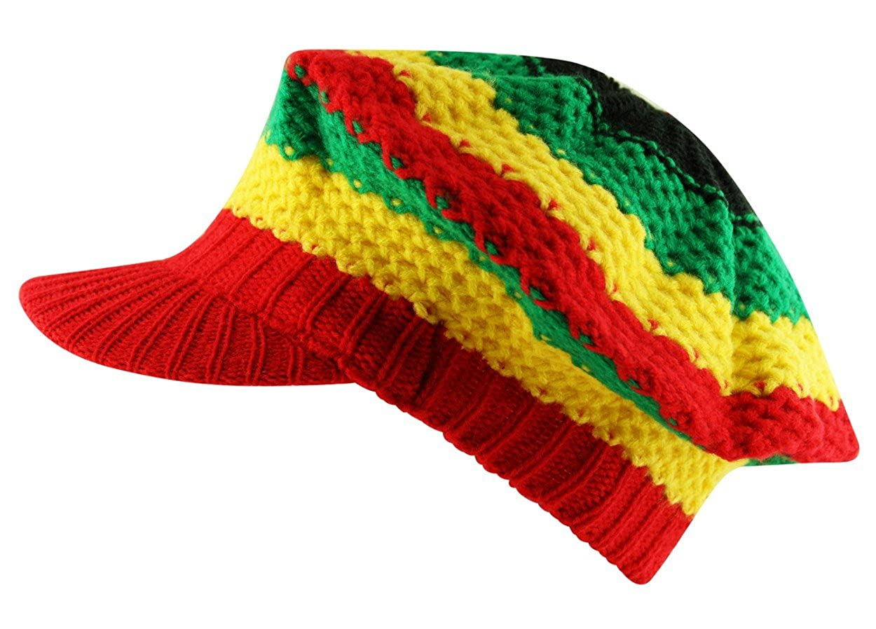 Itzu Men's Rasta Beret Tam Knit Visor Peak Crochet Cap Striped Red Green Yellow