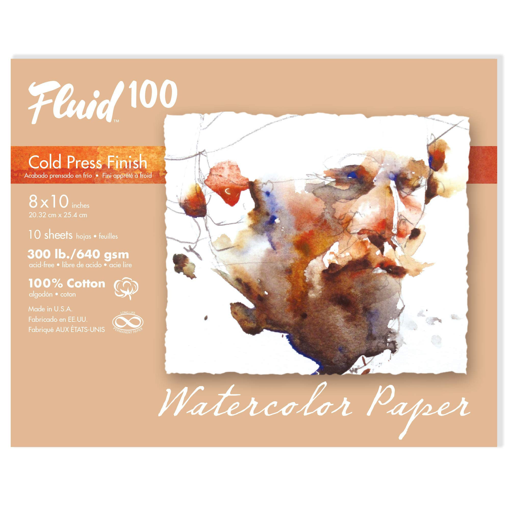 Speedball Art Products 821716 Fluid 100 Artist Watercolor Paper 300 lb Cold Press, 8 x 10-Inch Pochette, 100% Cotton Natural White by Speedball