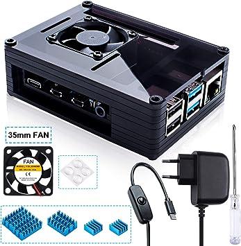 Carcasa Miuzei para Raspberry Pi 4 con ventilador de 35 mm y ...