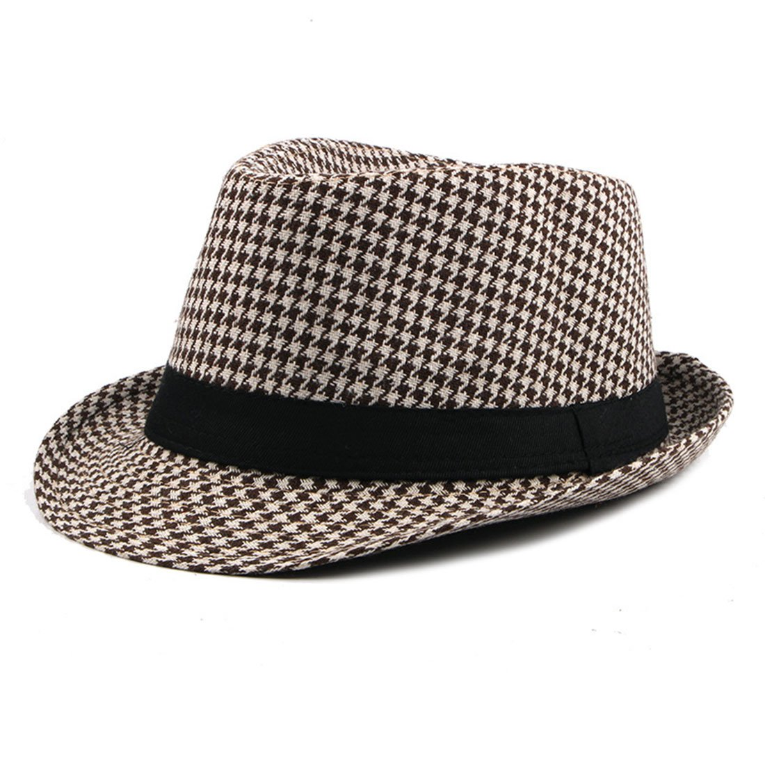 8d7a65c1771 Classic Houndstooth Black Band Wool Trilby Cap Soft Wool Blend Hat Winter -  Beige + Khaki at Amazon Men s Clothing store