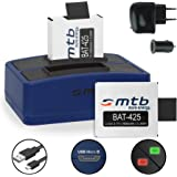 2x Akku inkl. Dual-Ladegerät (Netz, Kfz, USB) für Rollei Actioncam 425 (4K 2160p)