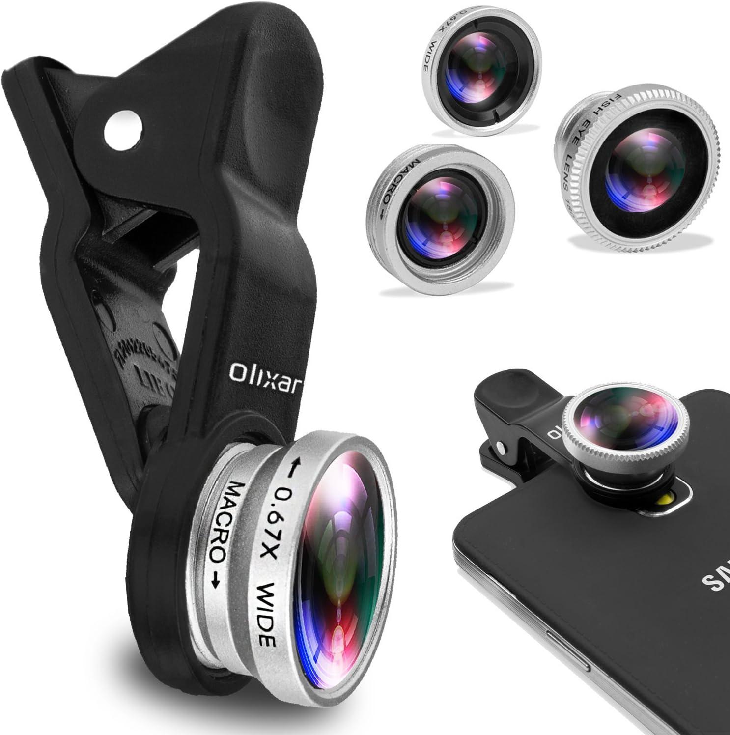 Kit de lentes de teléfono – ojo de pez, gran angular, macro – clip ...
