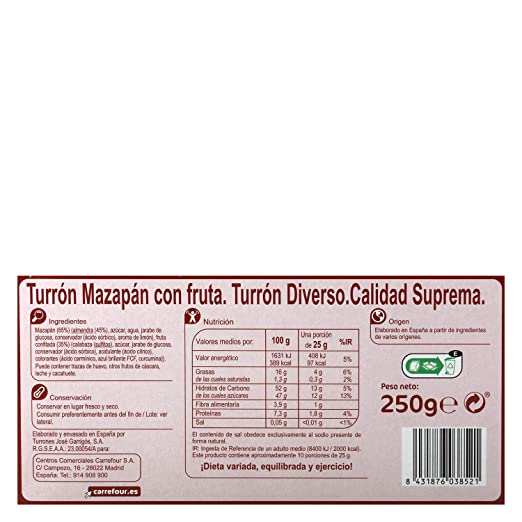 Amazon.com : 4 Pack Carrefour Fruit Marzipan Spanish Nougat 250g - Made In Spain - Supreme Quality - Delicious Nougat - Gluten-Free - Turron : Grocery ...