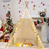 Decestar Tente Tipi en toile de coton blanc pour enfants - Tente de jeux intérieure et extérieure Tente Tipi Playhouse - Livré avec un plancher et un sac de transport (4 bâtons)