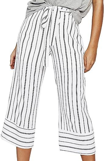 Pantalones Palazzo Mujer Verano Elegantes Talle Alto Casual Fashion Ropa Dama Moderno Rayas Pantalones Anchos Pantalon Con Cinturon Amazon Es Ropa Y Accesorios