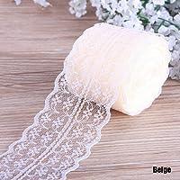 CALISTOUK Superbe ruban coloré en dentelle pour couture et bordure, pour le bricolage et les arts créatifs, 9 m en largeur 4,5 cm