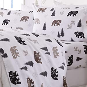 Great Bay Home Extra Soft Printed 100% Turkish Cotton Flannel Sheet Set. Warm, Cozy, Luxury Winter Bed Sheets. Belle Collection (Queen, Rustic Bear)