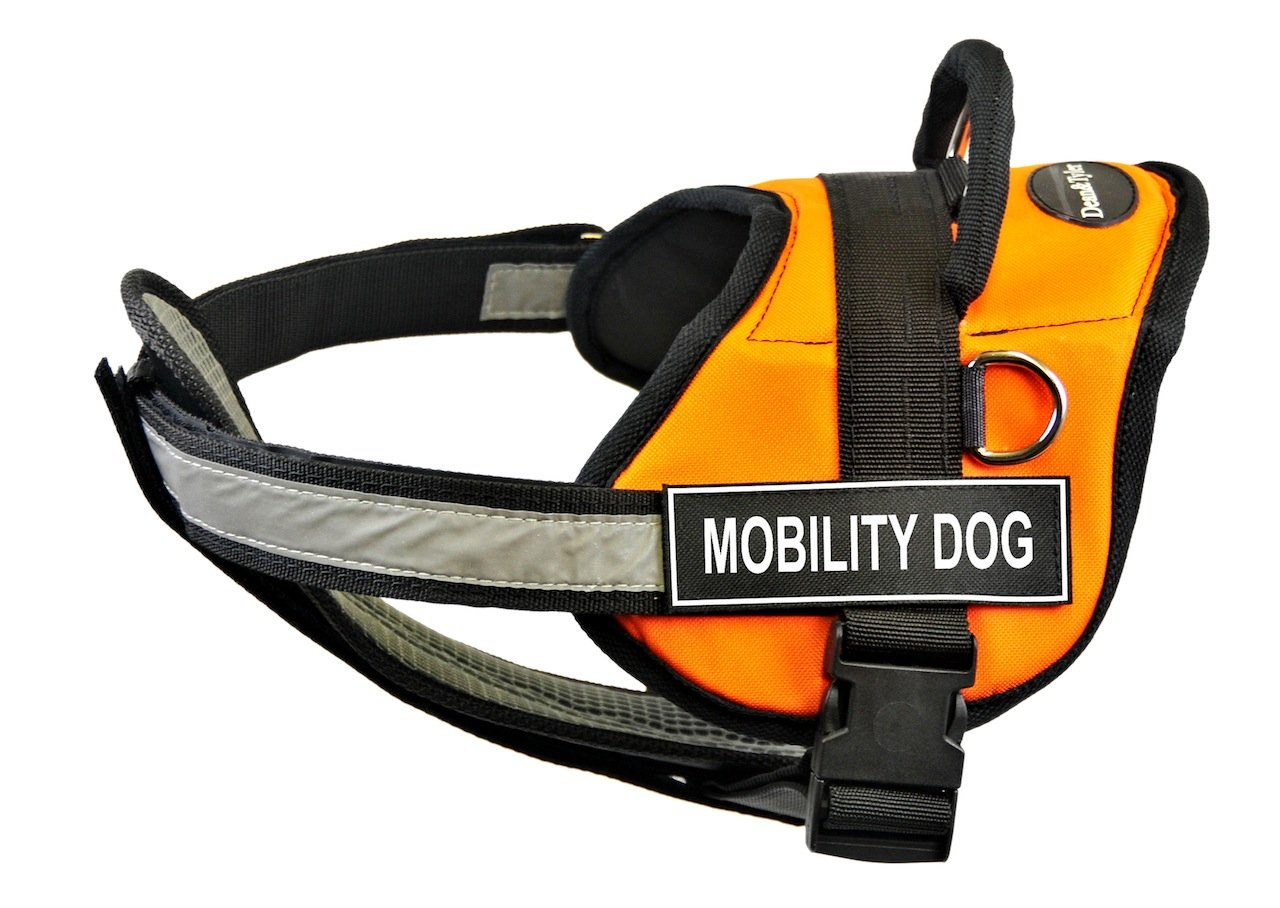 Dean & Tyler 34 to 47-Inch Mobility Dog  Pet Harness with Padded Reflective Chest Straps, Large, orange Black