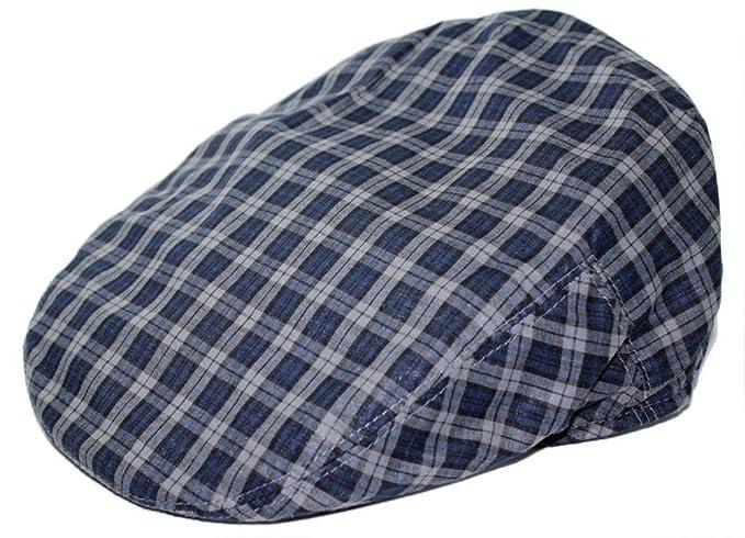 989dcd723de Men s Fashion Navy checks Ivy Flat Newboy Cap Hat Ultra Light Weight Fitted  (Small)