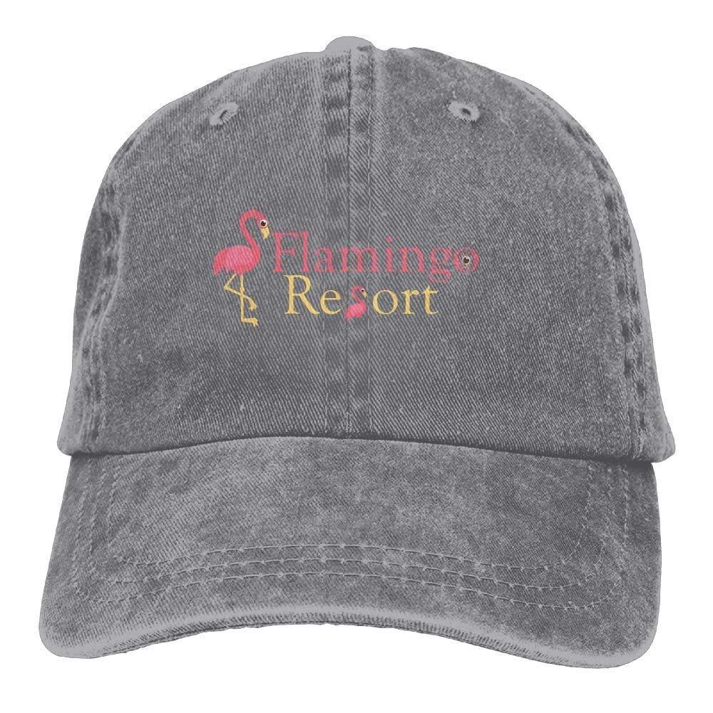 JTRVW Mens Womens Flamingos Resort Cotton Adjustable Peaked Baseball Dyed Cap Adult Custom Casual Baseball Cowboy Hats